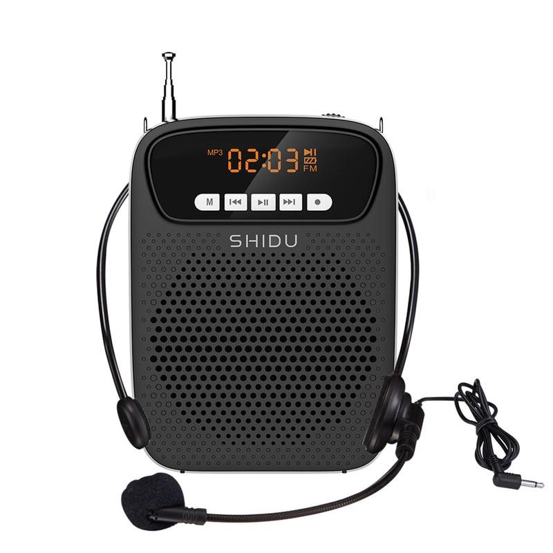 شيدو 15 واط مضخم صوت محمول سلكي ميكروفون FM راديو AUX تسجيل الصوت سمّاعات بلوتوث للمعلمين مدرب S278