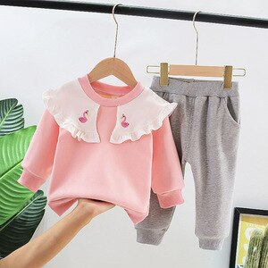 Girls Cute Clothes Sets Spring Autumn Children Fashion Cotton Coat Pants 2pcs Tracksuits For Baby Girl Toddler Tops Suits 3 4 5Y