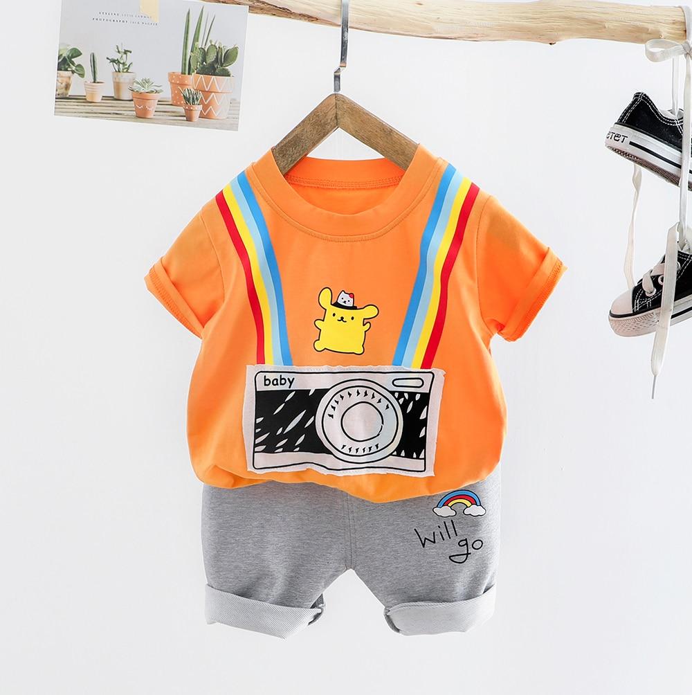 2020 Infante bebé de verano, conjuntos de ropa para niños pequeños, trajes de camisa de dibujos animados, pantalones cortos, trajes de disfraz para niños