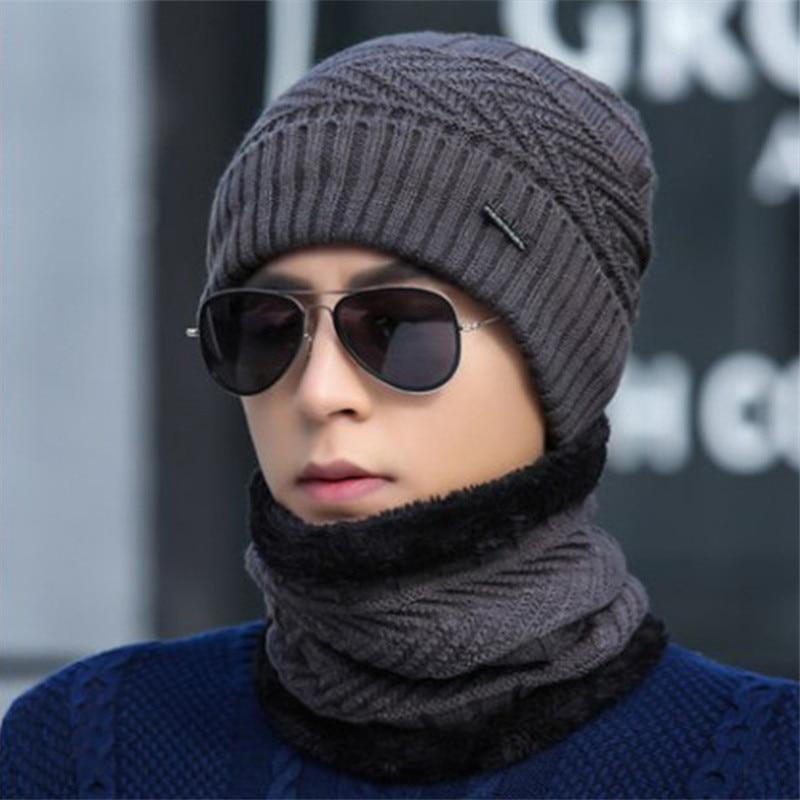 Новинка, зимние мужские шапки, набор шарфов, хлопковая вязаная теплая шапка и шея, зимние искусственные шапочки, облегающие шапки, шапки