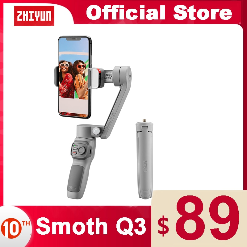 Get ZHIYUN Official SMOOTH Q3 Smartphones Gimbal 3-Axis Flexible Phone Handheld Stabilizer with Fill Light for iPhone Xiaomi Samsung