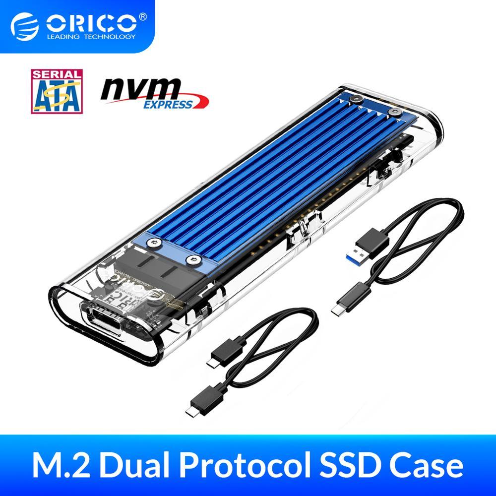 ORICO المزدوج بروتوكول SSD الضميمة USB C M.2 NVME بكيي NGFF USB3.1 GEN2 10 جيجابايت في الثانية M2 SSD حالة يصل إلى 2 تيرا بايت ل 2230/2242/2260/2280 SSD