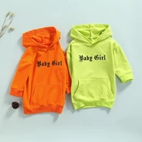 baby girls casual long sleeve hoodies dress letters printed pattern hooded long pullover sweatshirts tops fluorescent