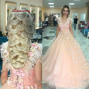 Ball Gown Pink Quinceanera Dresses Plus Size Flower Masquerade 15 Sweet 16 Puffy Quinceanera Gown Prom Dresses for 15 Years