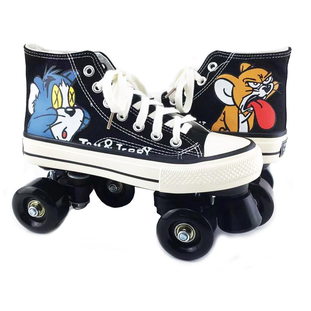Skates Quad Roller Skates Unisex Canvas Double Line Skates Adult Kid Two line Skating Shoes With LED PU 4 Wheels Rollerblade