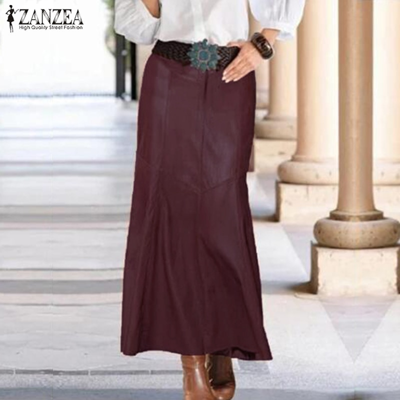 ZANZEA negro PU cuero Falda Mujer sirena faldas 2019 otoño Sexy alta cintura falda Oficina Midi lápiz falda Jupe Vestido 3XL