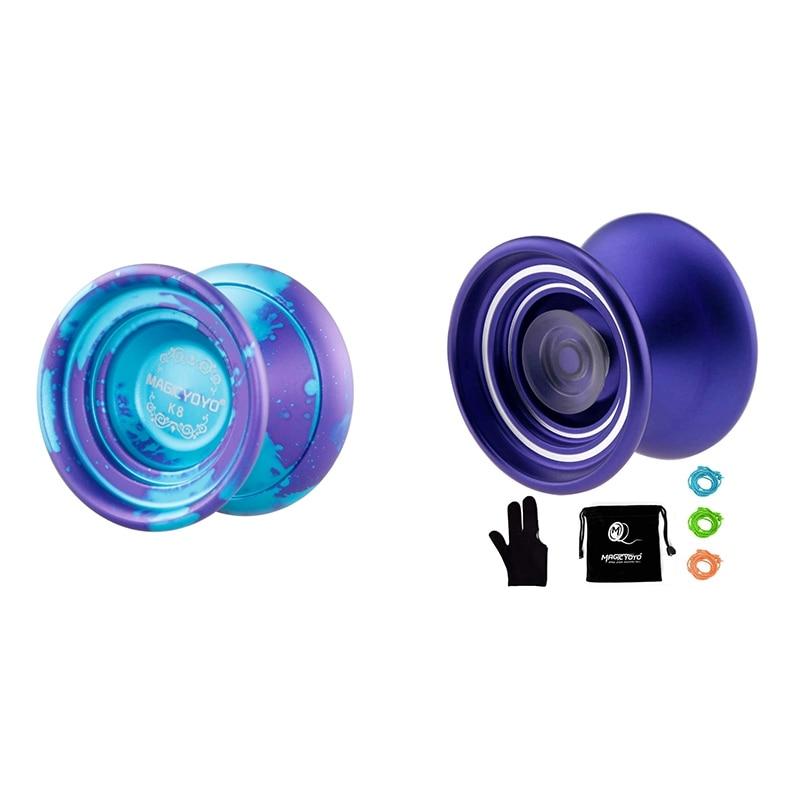 Icyoyo 1 ensemble K8 Yoyo balle Spin jouet pour enfants et 1 ensemble K7 Yoyo balle pour les enfants débutants