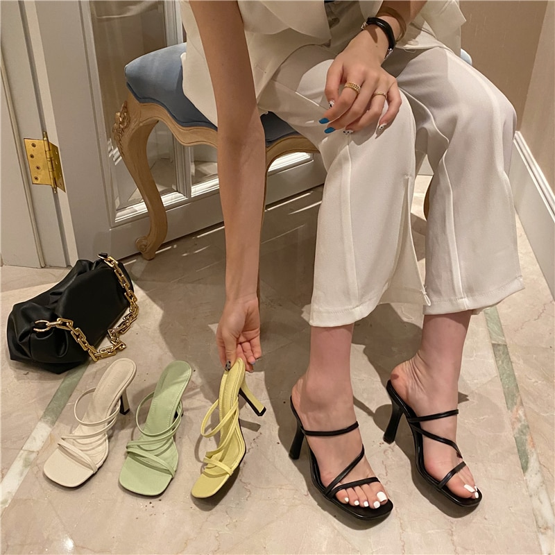 Fashion Women Slippers Open Toe Narrow Band Hollow Slip On Mules Shoes Slides Party Pumps Dress Shoes Party Pumps Size 35-39