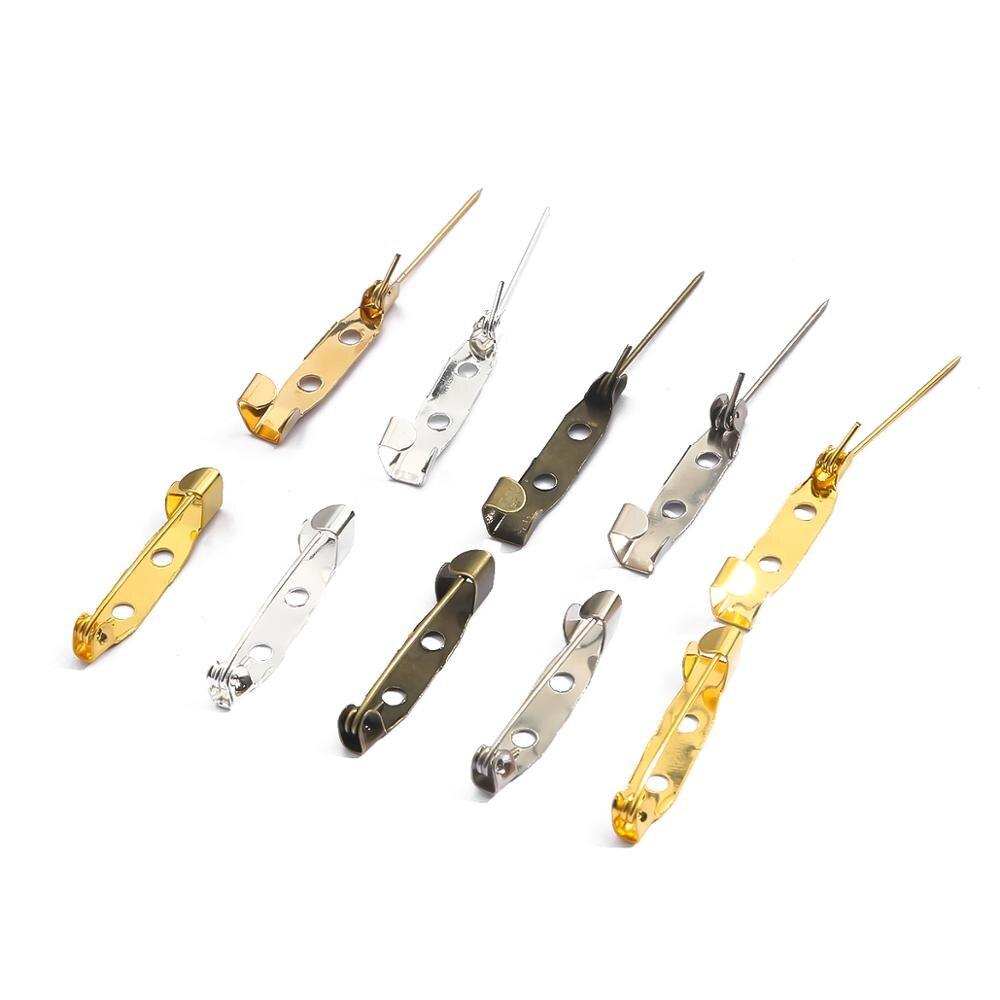 Lote de 50 unidades de broches de aleación de 15, 20, 25, 30 y 35mm, broches de seguridad, Base en blanco para suministros de fabricación de joyería DIY
