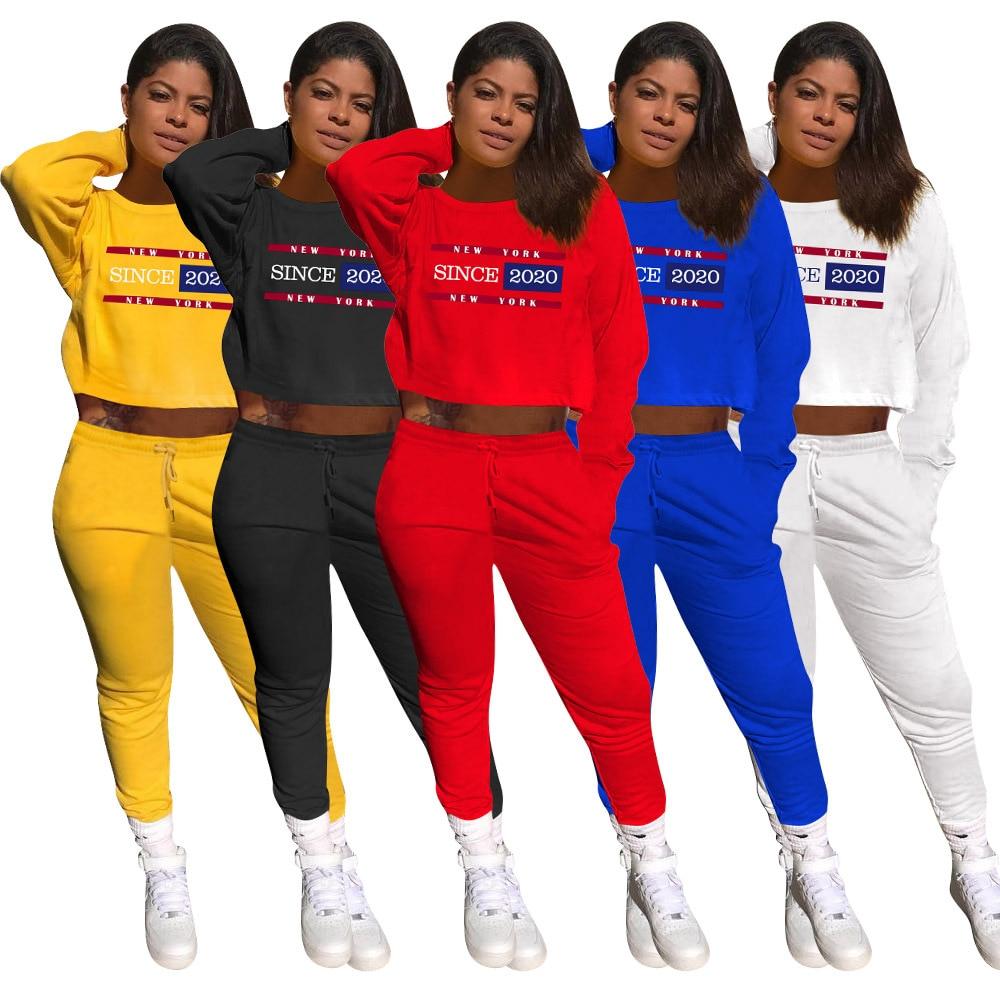Activewear رسالة طباعة المرأة مجموعة البلوز طقم بنطال رياضي رياضية رياضية اللياقة البدنية قطعتين مجموعة مطابقة الزي
