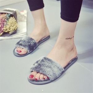 2020 Women Slippers Winter Shoes Ladies Big Size Slip On Sliders Fluffy Faux Fur Flat Slipper Warm Plush Flip Flop Fur Slides