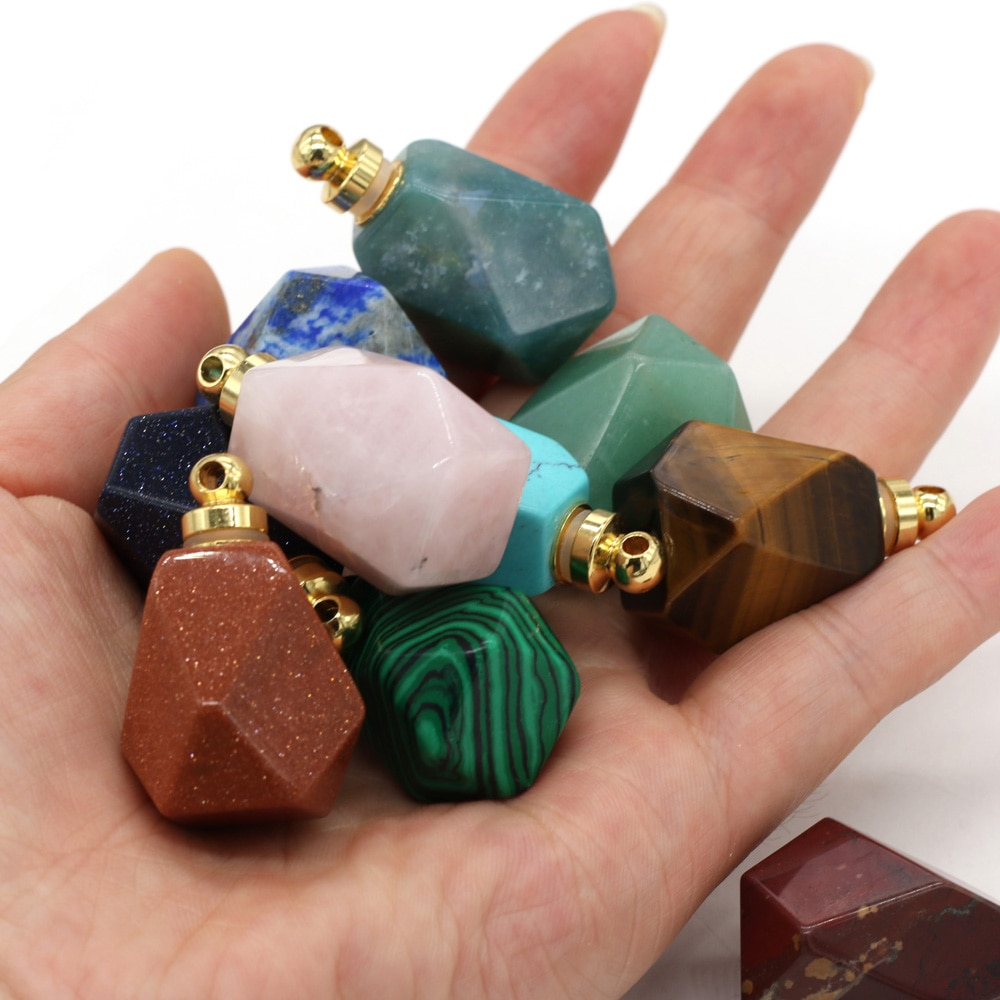 Natural Gem Stone Faceted Perfume Bottle Pendant Quartz Agates Essential Oil Diffuser Charms for Jewelry Making Necklace 25x37mm  - buy with discount
