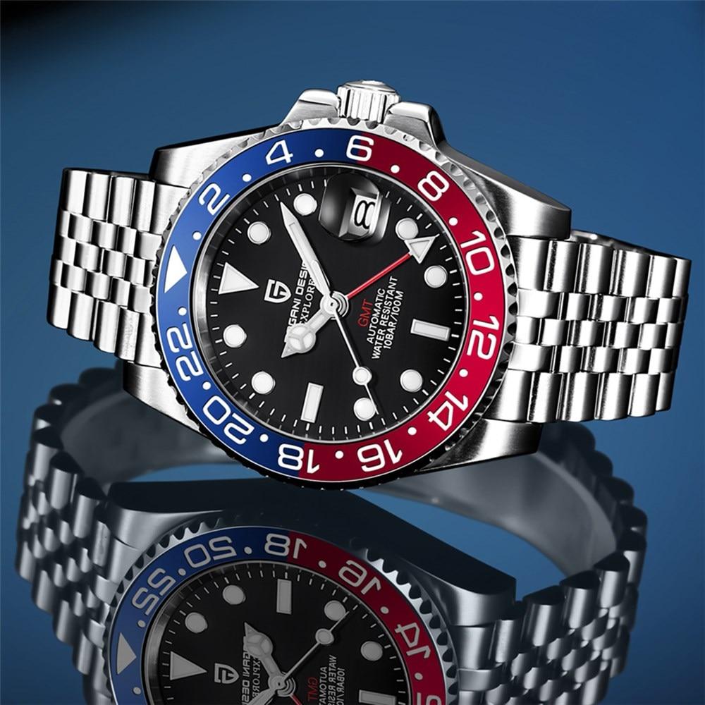 2021 PAGANI تصميم جديد GMT الميكانيكية الرجال ساعة فاخرة الرجال مقاوم للماء الساعات الياقوت التلقائي السيراميك ساعة Relogio Masculino