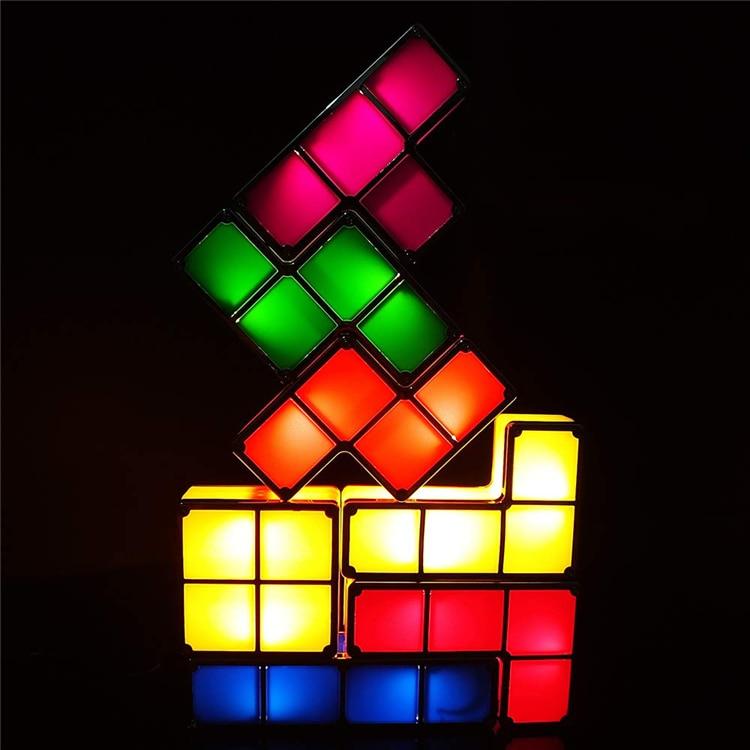 DIY Tetris Puzzle Light Stackable LED Desk Lamp Constructible Block DIY Night Light Retro Game Tower Baby Colorful led light