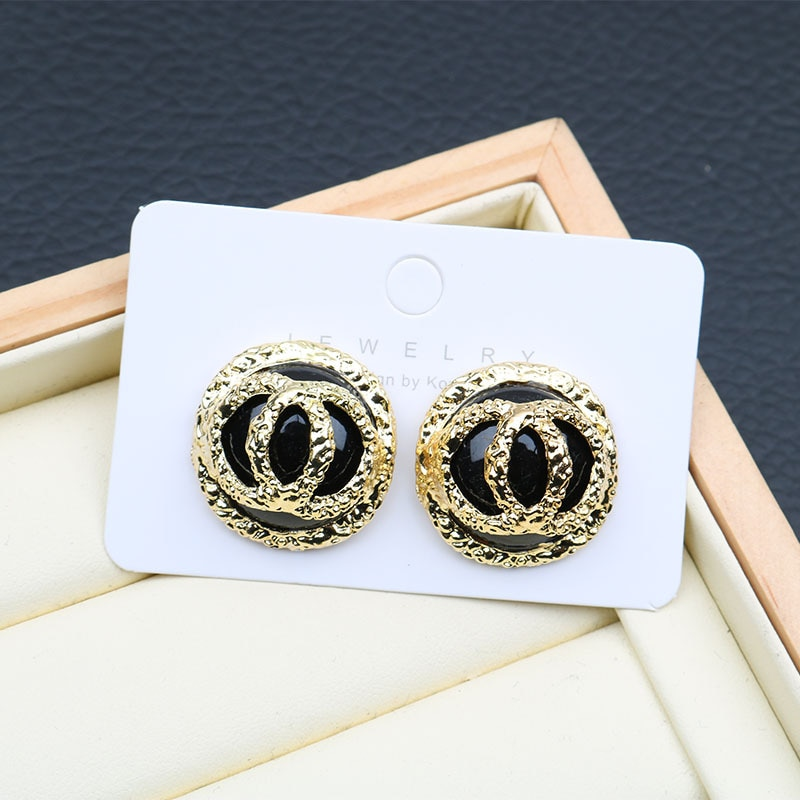 Geométrica redonda dupla carta brincos para as mulheres grandes brincos de cristal do parafuso prisioneiro passarela marca brincos na moda jóias z349