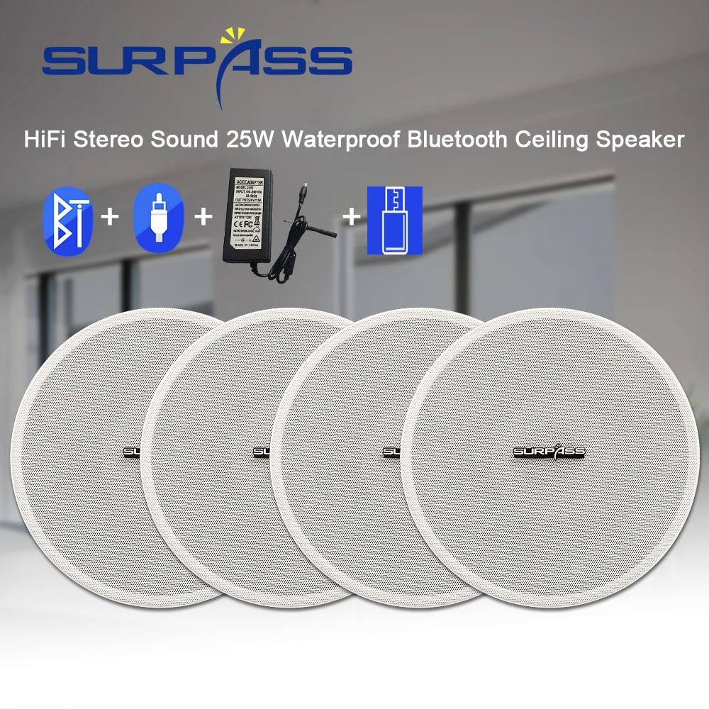 مكبر صوت سقف بلوتوث مقاوم للماء ، للاستحمام المنزلي ، صوت ستيريو HiFi ، 25 وات باسكال ، أبيض ، مكبر صوت جداري للحمام