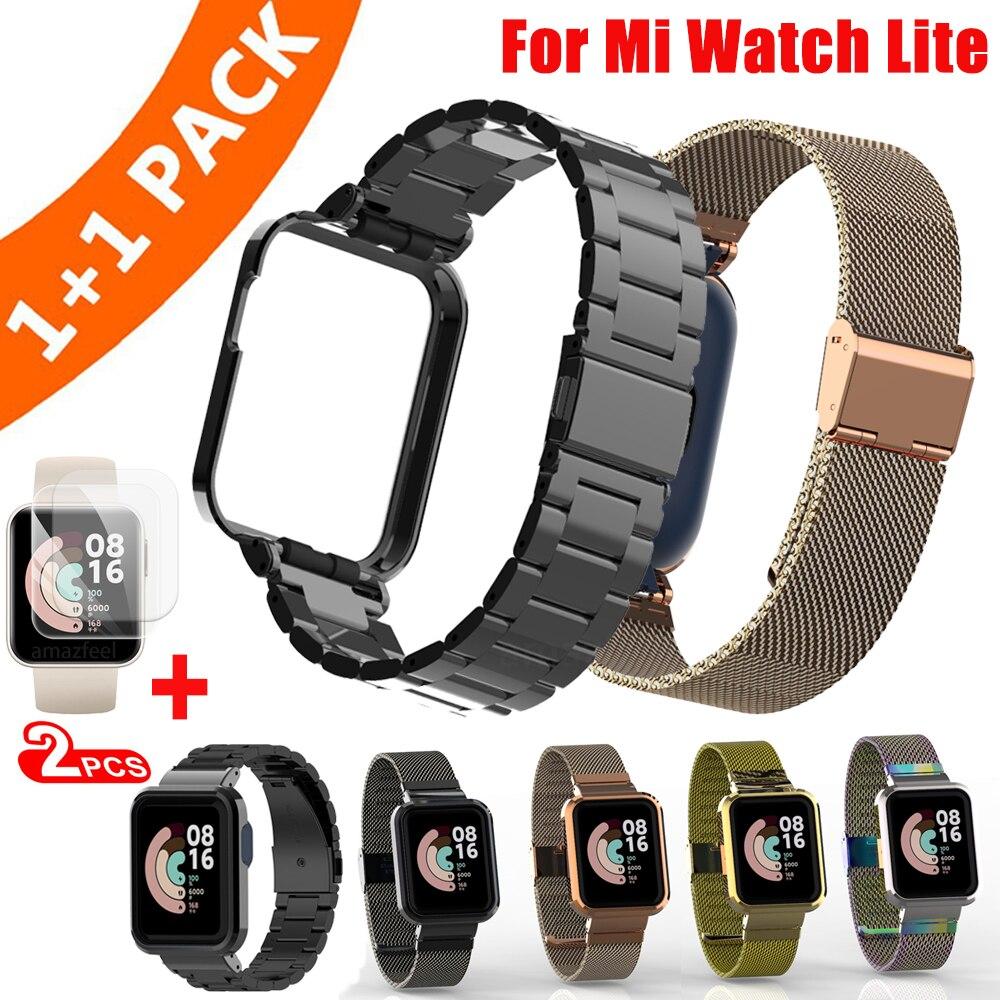Funda de Metal de acero inoxidable para Xiaomi Mi Watch Lite, Correa...