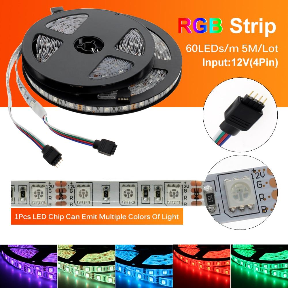 LED Streifen 5050 DC12V 60LEDs/m Flexible LED-Licht RGB RGBW 5050 LED Streifen 300LEDs 5 mt/los