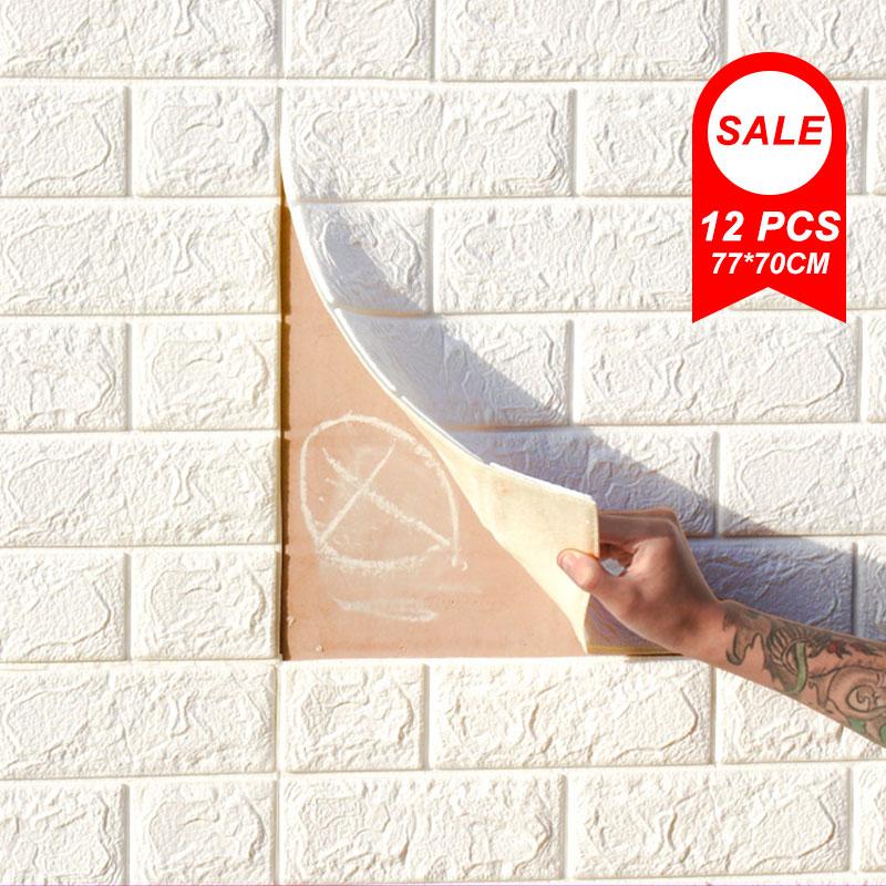 12 Pcs 3D Wall Stickers Imitation Brick Wallpapers Anti-Collision Sponge Wall Sticker Mural Bedroom Decorative