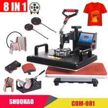 Máquina de prensado en caliente combinada barata de 30*38CM 8 en 1, impresora de sublimación 2D Máquina de transferencia de calor para tapas, tazas, placas, camisetas, aprobado CE