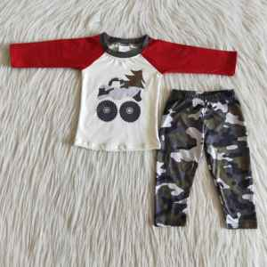 Christmas Truck Camouglage Outfits For Baby Boys Long Sleeves T-shirts Jogger Pants Kids Sets Children Clothes Boutique Hot Sell