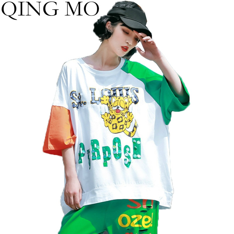 QING MO Fashion Brand Cartoon Print Women T-shirt 2020 Summer Plus Size T-shirt Letter Print Women Top White Green QYF029A