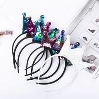 handmade reversible sequin hair buckle childrens fabric princess hair band for birthday wedding girl woman hair accessories