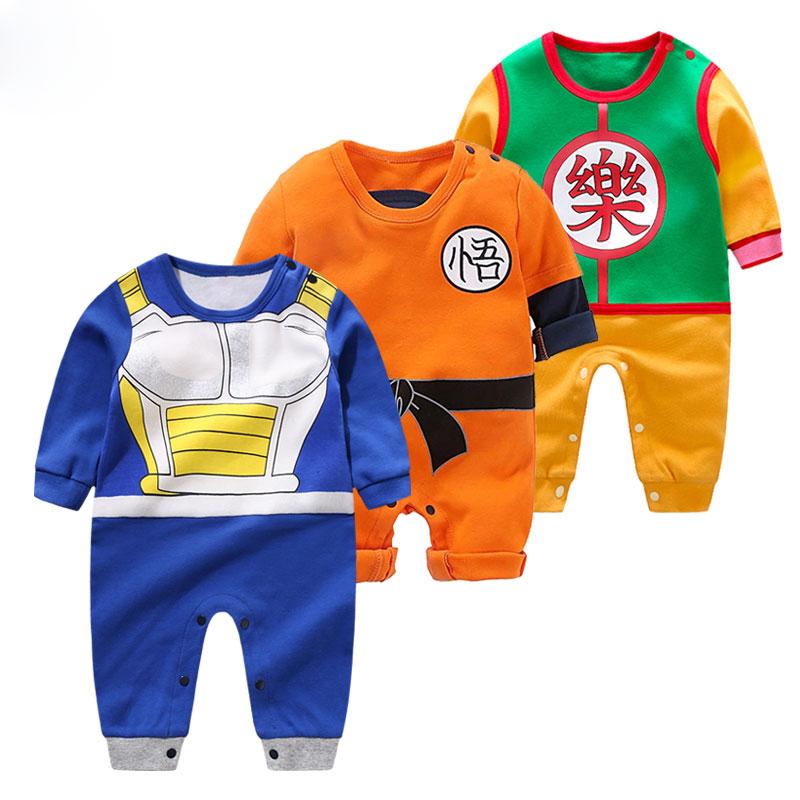 Ropa de bebé de alta calidad, mamelucos de dibujos animados para bebé, estilo Dragon Ball, monos de manga larga para bebé, ropa para niño y niña, bebé
