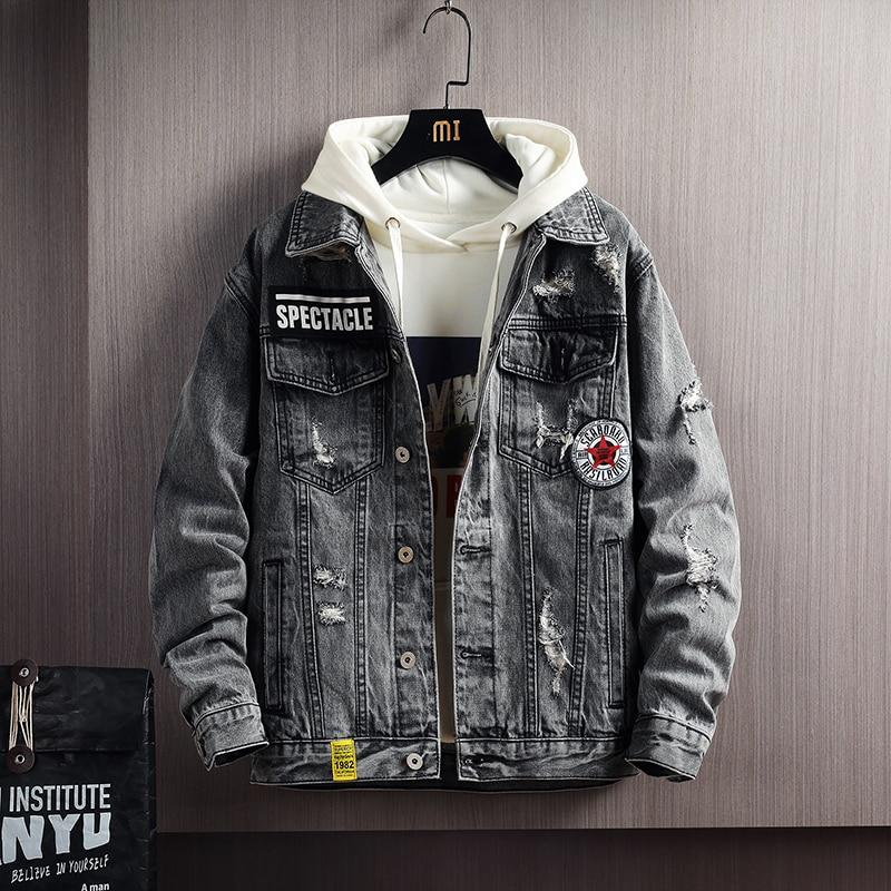 2021 Brand clothing Men's spring broken hole design Casual denim jacket/Male slim fit Fashion cotton cowboy jackets