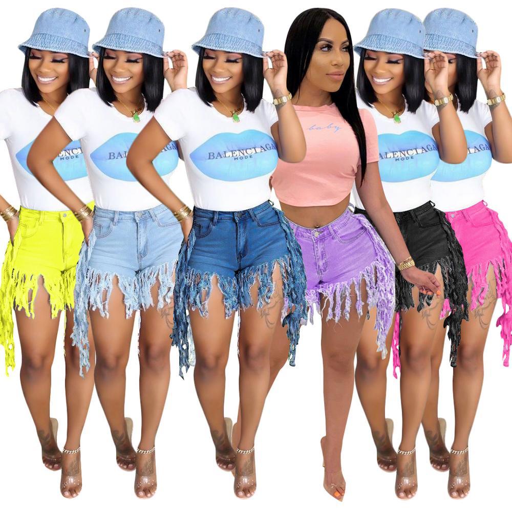 Ladies high waist jeans hot sale denim shorts women's jeans casual ladies shorts sexy jeans slim denim shorts tassel denimshorts