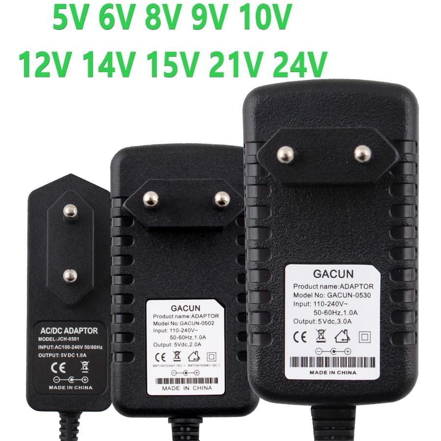 Adaptador de fuente de alimentación 12V DC 5V 6V 8V 9V 10V 14V 15V 21V 24V adaptador de fuente de alimentación 220V a 12V cargador de conmutación 1A 2A 3A adaptador