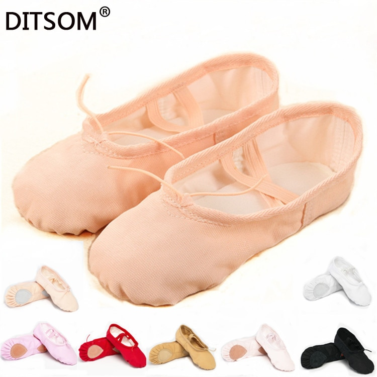 7 colores de lona zapatos de baile de Ballet para mujeres niños zapatillas suaves zapatos puntiagudos Yoga Fitness gimnasio zapatos de baile torcido 22-44