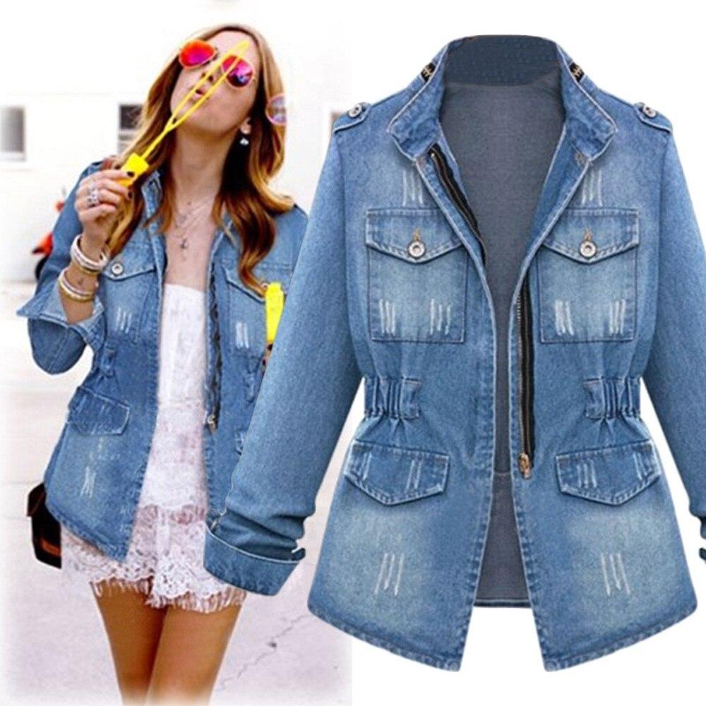 Primavera otoño nuevo abrigo de mujer chaqueta de mezclilla delgada Jeans Mujer ropa bolsillo de moda cremallera casual chaquetas femeninas