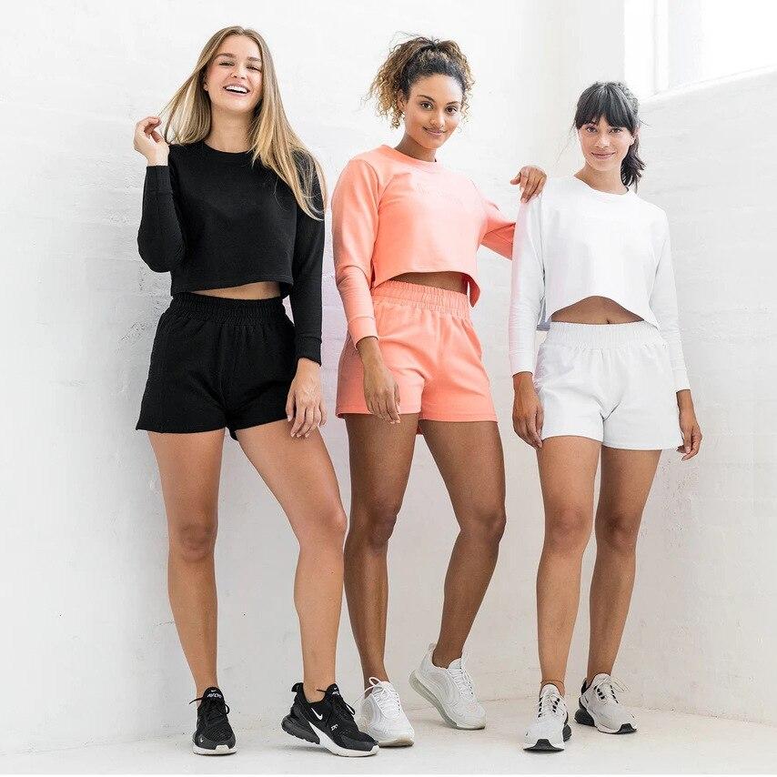 Frauen Casual Jogger Zwei Stücke Gesetzt Lange Hülse Lose Crop Top Shorts Mode Pullover Trainingsanzug Yoga Anzug Fitness Sportliche Anzug