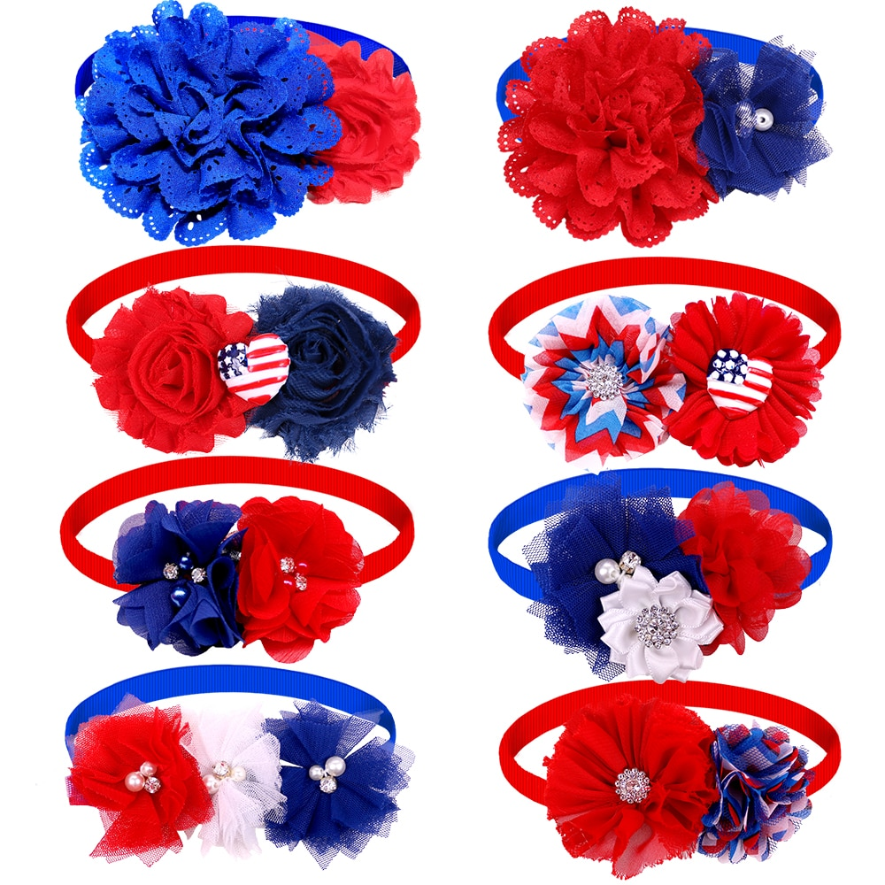 50pcs American Independence Day Pet Supplies Pet Dog Bow Ties Collar 4th July Dog Accessories Small Dogs Cats Bowties Neckties