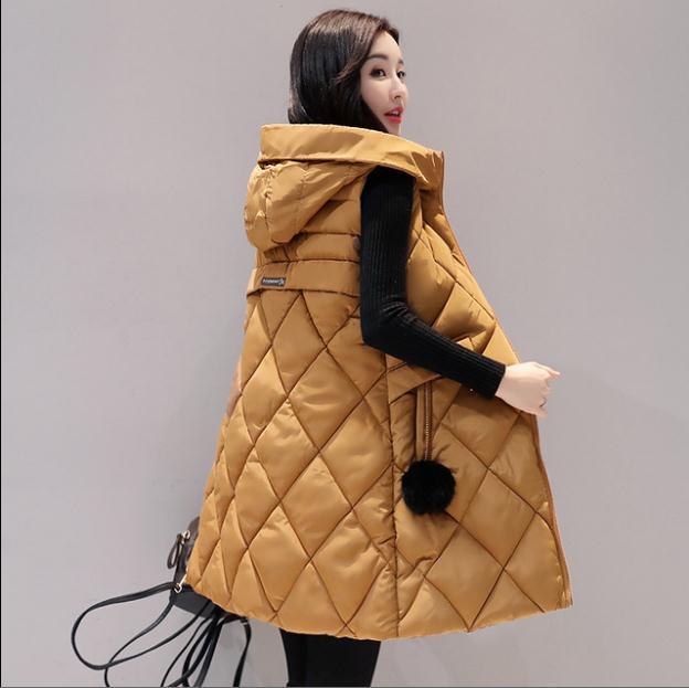 Женский Длинный жилет с капюшоном, большие размеры, зимние, Осенние, без рукавов, с хлопковой подкладкой, теплые безрукавки K1194