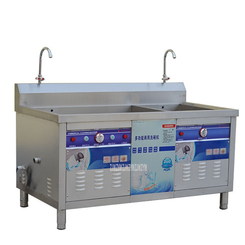 180CM Double Tank Automatic Ultrasonic Dishwasher Crawfish Washing Machine Canteen Restaurant Commercial Dish Washing Machine