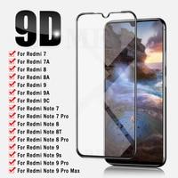 Защитное стекло с полным покрытием 9D для Xiaomi Redmi Note 7, 8, 9 Pro, 9s, 8T, Защитное стекло для экрана Redmi 9, 9A, 9C, 7, 7A, 8, 8A, стеклянная пленка