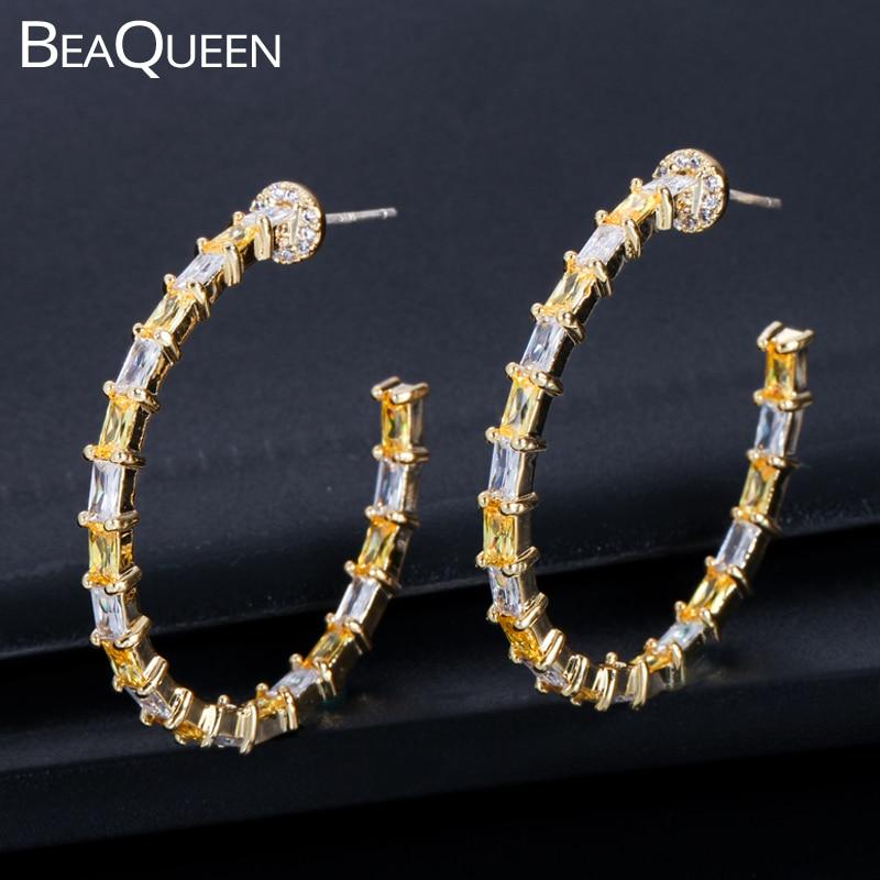 BeaQueen elegante Champagne Baguette Zirconia cúbica CZ círculo redondo aro pendientes amarillo oro Color joyería para las mujeres E239