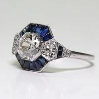 fashion jewelry bluewhite zircon rhinestones ring for women accessories anniversary engagement ring gift vintage women ring