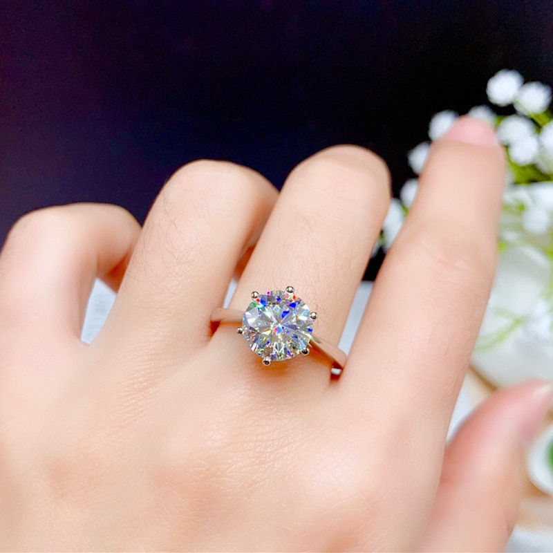 Moissanite Ring 2CT 3CT VVS Lab Diamond With Certififcate Fashion Jewelry for Women Wedding Gift Real 925 Sterling Silver