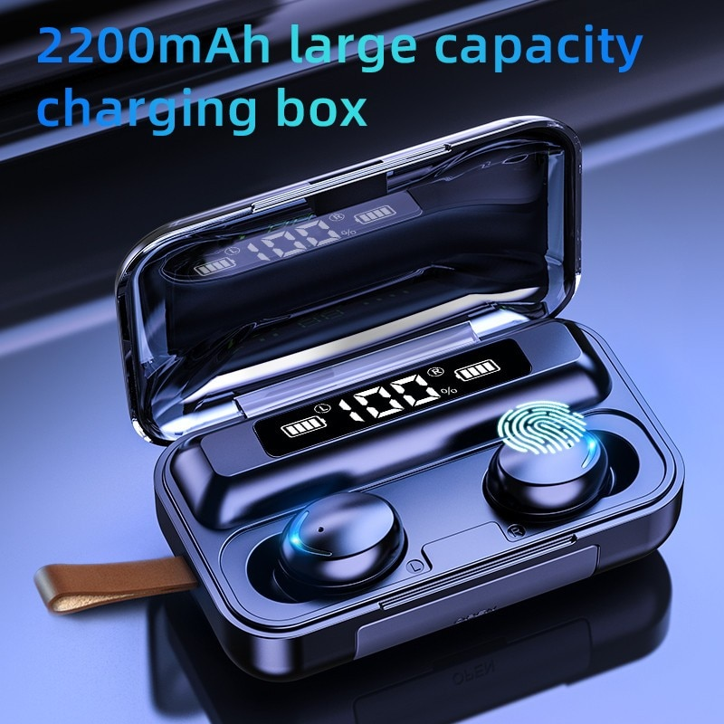 Auriculares TWS Bluetooth 5,0 9D con Control táctil, auriculares inalámbricos Bluetooth, auriculares estéreo deportivos a prueba de agua con microfono