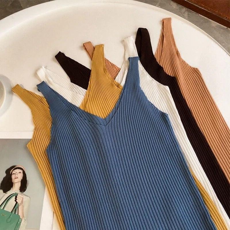2021 Summer Women's Tank Top Traf Camis Elastic Sexy V-neck Slim Corset Femme Top Fashion Korean Sleeveless Solid Tanks Vest