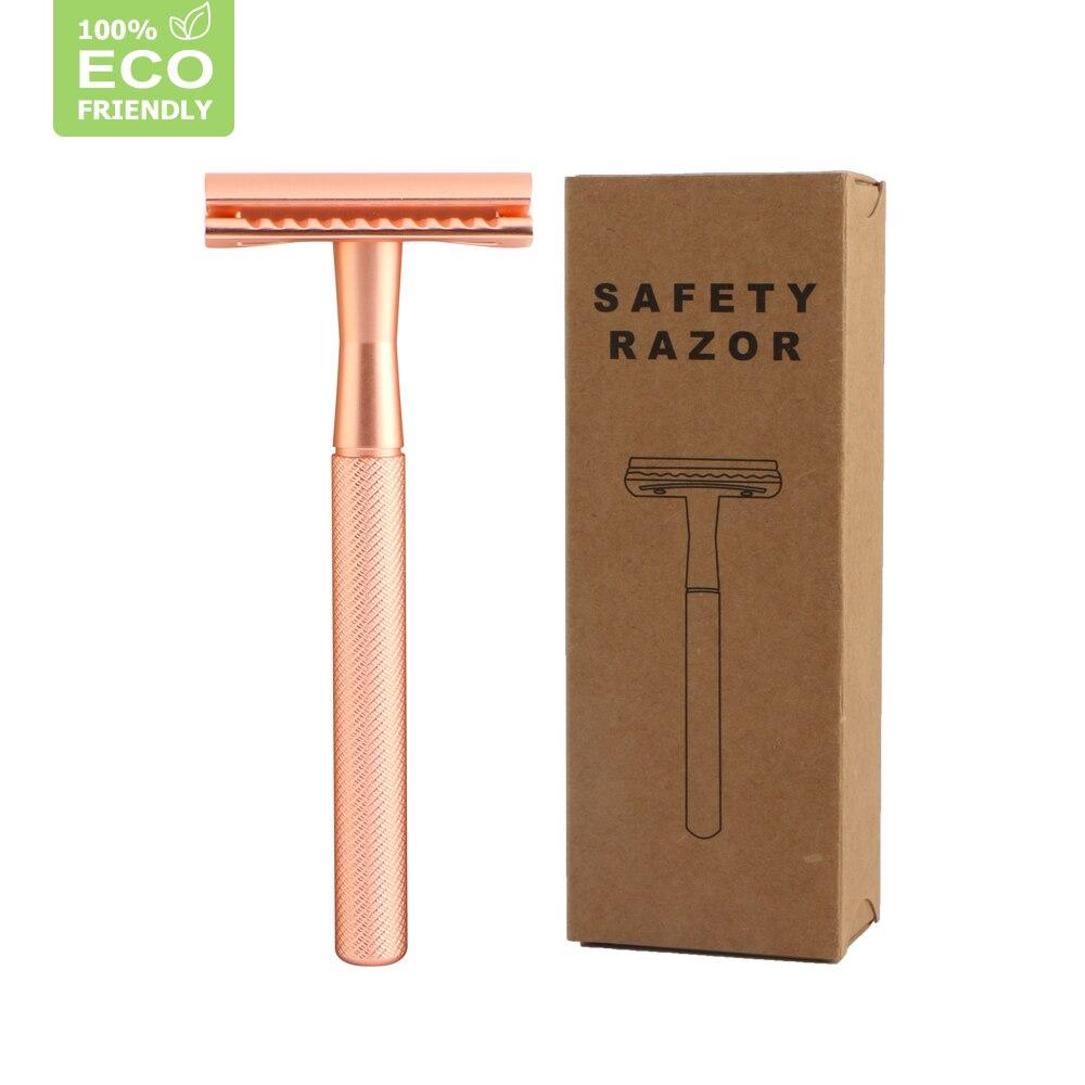 HAWARD Rose Gold Safety Razor Men's Double Edge Razor Classic Manual Shaving Razor For Women Hair Removal 20 Shaving Blades