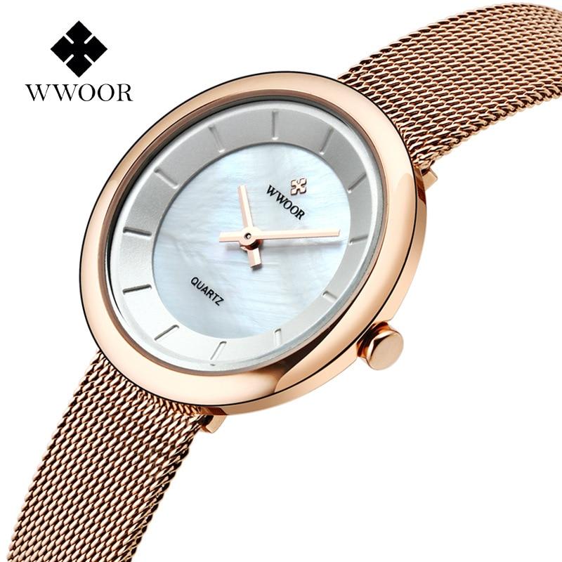 WWOOR marca relojes de moda para mujer, relojes de cuarzo ultrafinos, relojes de pulsera para mujer, reloj de malla, reloj impermeable