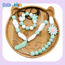 Cute-Idea 1set Silicone Bead Teether Pacifier Chain Bracelet Accessory Chain Toddle BPA Free Chewabl