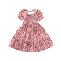 summer girls dresses girls short sleeve floral print dress kids elegant princess dress children party ball pageant dress outfit