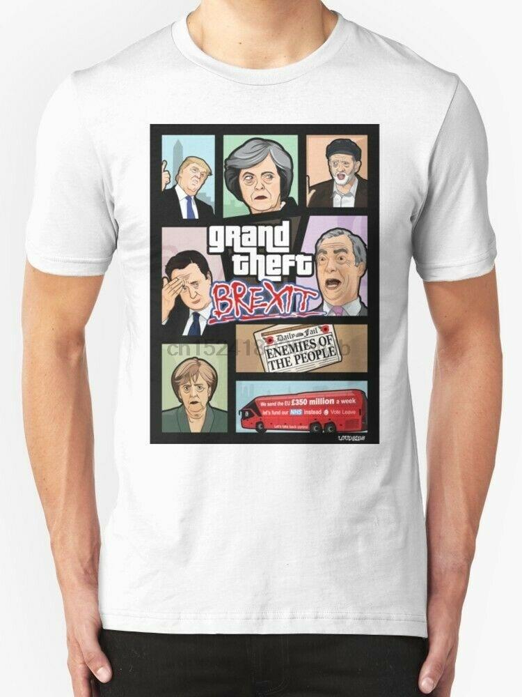 Gta brexit t camisa masculina tamanho branco S-2XL