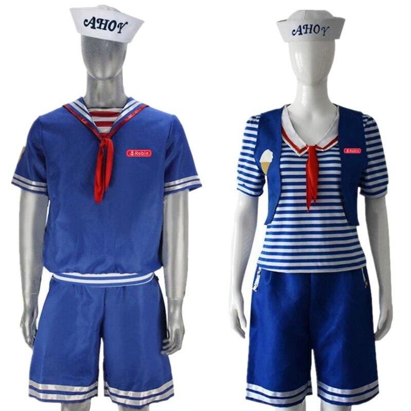 Coisas estranhas Temporada 3 Robin Steve Harrington Colheres Ahoy Sailor Traje Cosplay Uniforme