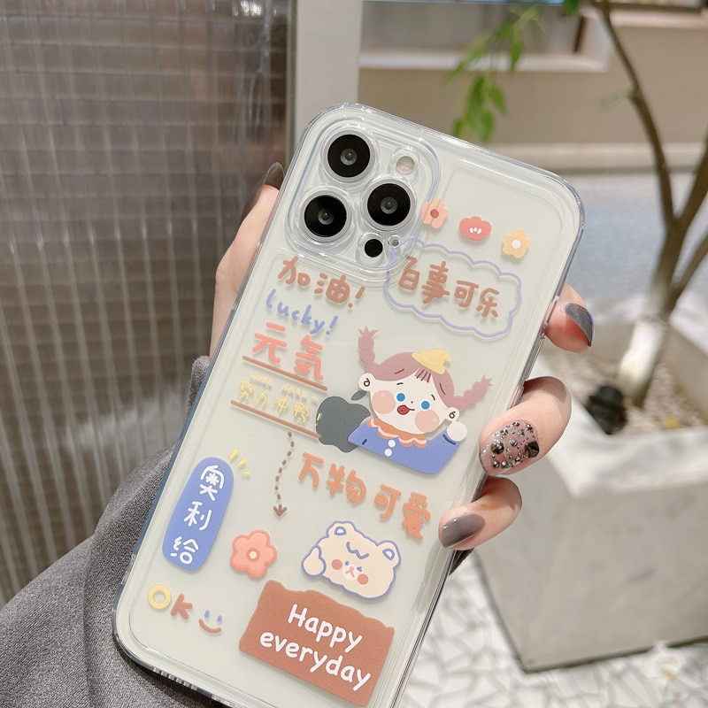 phone case ins cartoon little fresh girl iPhoneXs max mobile phone case suitable for transparent new ins     iPhoneXs max Apple